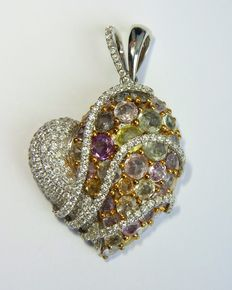 Gorgeous golden heart pendant with diamonds and multy-gems