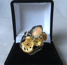 925 silver design ring set with opal precious stones