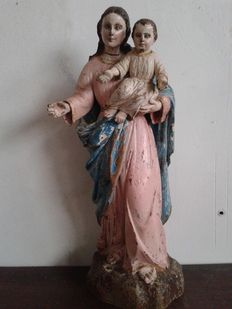 Sculpture of a Madonna with Child - probably Naples, Italy - 18th century