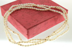 Yellow gold pearl necklace with spheres, 2.5 mm