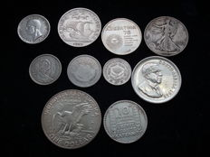 Italy, Portugal, Argentina, United States, Egypt, South Africa, France - 10 Different Silver Coins
