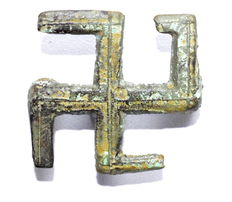 Ancient Roman Bronze Swastika Brooch / Fibula - 33 mm