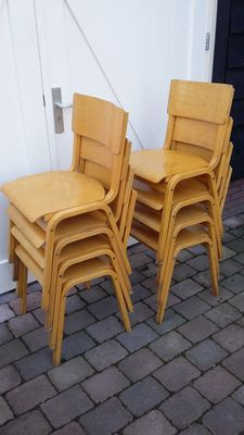 Designer unknown - set of eight vintage plywood (stacking) chairs
