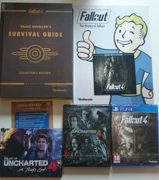 Limited edition Uncharted 4, Limited edition Fallout 4 + hardcover Gameguide Fallout 4 + Franchise Fallout book + more