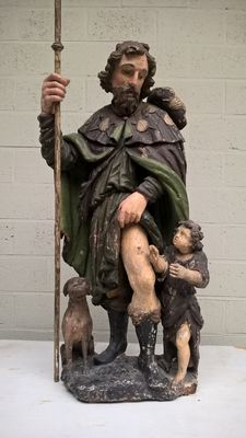 Large polychrome wooden statue of St Rochus - Flanders, Belgium - 17th century