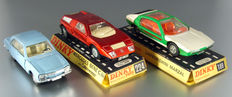 Dinky Toys-FR/GB - 1/43 scale - Lot with Peugeot 504 No.1415, Lamborghini Marzal No.189 and Mercedes-Benz C111 No.224
