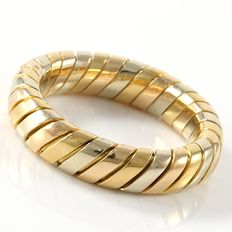 "Bvlgari - ""Tubogas"" 18K Tricolor Gold Band Ring"