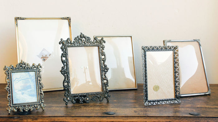 Lot of six old picture frames - including brass, silvered and 3 with ...