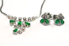 Emerald & Diamond, White Gold - Matching Necklace & Earrings