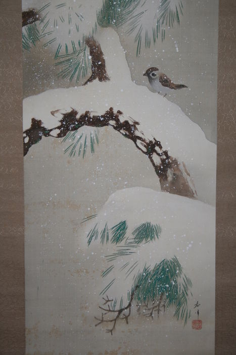 "Scroll painting  "" Sparrow on snow covered pine tree "" - Japan - early 20th century"