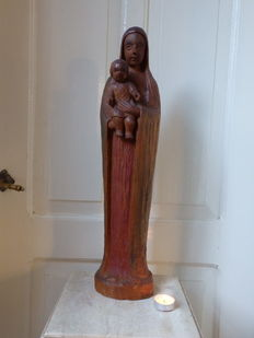 Amazing large Art Deco Mary statue in wood - FLANDERS - ca. 1920