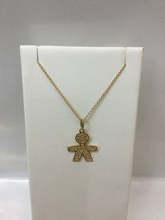 Chain necklace in yellow gold 18 kt – Baby-shaped pendant with zircons