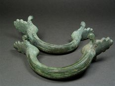 Greek or Italic Bronze Side Handles, – L. 18.1 cm