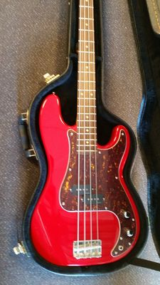 New Bach Precision model bass guitar, colour Red, in case
