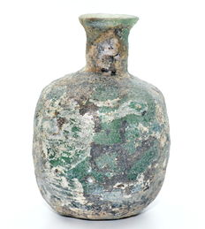 Rare Ancient Roman Aubergine Ribbed Glass Flask - 80 mm