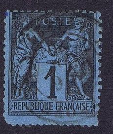 France 1880 – 1 c. black on Prussian blue – Very beautiful shade with Calves certificate – Yvert no. 84