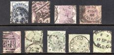 Great Britain 1884 - Queen Victoria Lilac & Green Partial Set - Stanley Gibbons 187/196