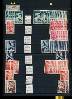 France – stock pages with batch airmail, military stamps, freedom, legionaries