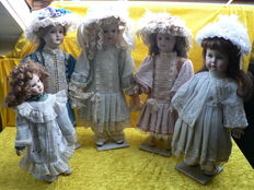 Lot of 5 porcelain dolls. Ashton Drake and replica: Kestner, Heubach Koppelsdörf, Jumeau and Kammer und Reinhardt