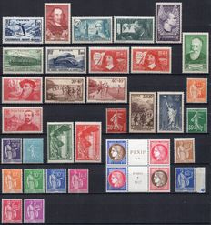 France 1937 - Complete year - Yvert no. 334/371.