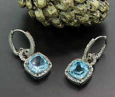 A pair of blue topaz diamond earrings, in total approx. 4.60 ct, sterling silver