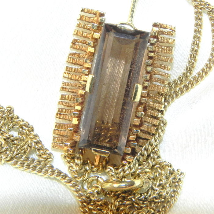 Necklace and pendant made of 585/14kt gold, smoky quartz from the 1970s