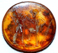 Ancient Roman Carnelian Intaglio Stone Depicting Boxing Scene - 14 mm
