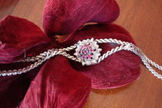 14 kt White gold bracelet with 7 rubies