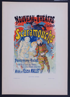 Jules Cheret  - 'Scaramouche' original small lithograph poster from the 'Les Affiches Illustrées' series