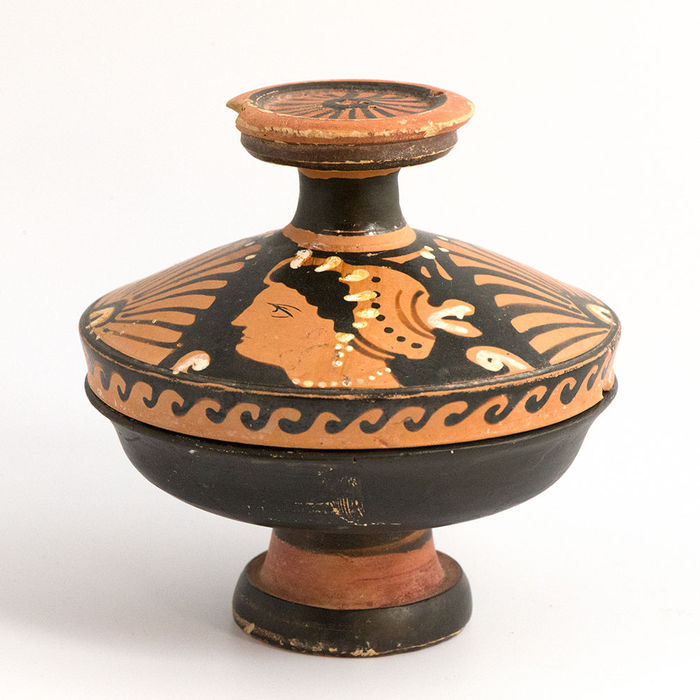 Greek Decorated Lidded Pyxis- 9,5 cm