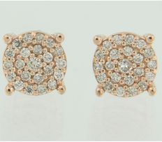 14 kt rose gold ear studs set with 50 brilliant cut diamonds of 0.34 carat, earring width is 7.6 mm