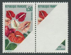 France 1973 – Anthurium from Martinique – Rare variety – Print missing on a large horizontal strip, signed Calves with certificate – Yvert no. 1738
