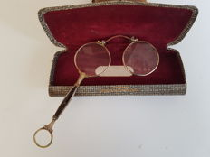 Gold filled 1/20 14ct eye glasses (lorgnet glasses) - France - late 19th century + custodia