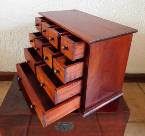 Old Dutch pharmacists cabinet with 11 drawers, second half 20th century,