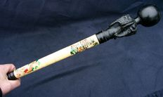 Cane in bone from Japan - superb decoration - ca. 1920
