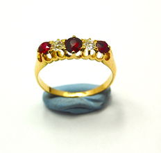 Victorian Ruby and diamond gold ring