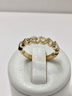 18kt yellow gold eternity wedding ring with 1.0 ct of Top Wesselton Diamonds - size 51.