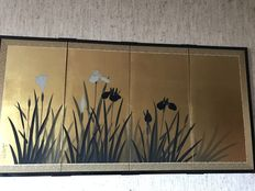Hand-painted screen on gold leaf (Iris) - Japan - 1991.
