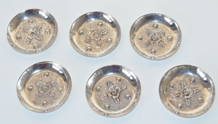 Six silver dishes, Mexico, 20th century
