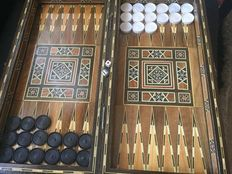 Backgammon + chess hand made game board - intarsia decoration - Syria / Egypt (?)