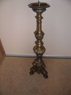 Yellow brass church candle holder 62 cm