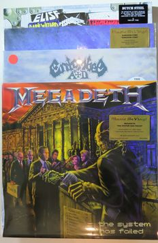 Megadeth / Entombed AD / Kingdom Come / Dutch Steel: Great lot of 4 loud 'n heavy titles (6LP's) incl. 3 limited and out of print editions on coloured vinyl!