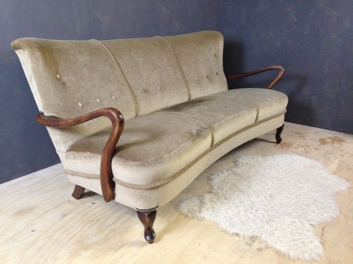 Mid Century 3 Seat Sofa With Velvet Upholstery 1950 S The Netherlands