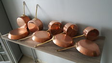lot of five pots + four pans in tinned copper (stamped pans).