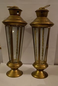 Two brass lanterns with Crystal glass windows with an engraved decor.