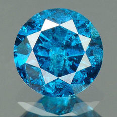 0.28 cts.  brilliant cut diamond Vivid Royal Blue I3
