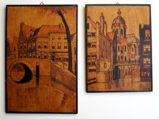 Eight wood burn images on wood with cityscapes of Amsterdam, still lifes, sunflowers and others