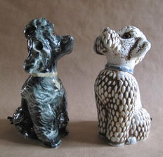 Two porcelain perfume lamps (Rauchverzehrer) in the form of poodles, 2nd half 20th century, Germany