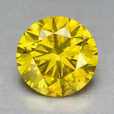 0.14 cts.  brilliant cut diamond Sparkling Yellow  SI1