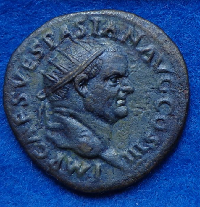 Roman Empire - Dupondius of emperor Vespasianus (69-79 AD) from Rome.